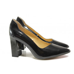 Дамски обувки от естествена кожа-лак Caprice 9-22408-23G черен | Немски обувки на ток