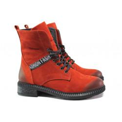 Дамски боти от естествен набук МИ 305-91 червен | Дамски боти с топъл хастар