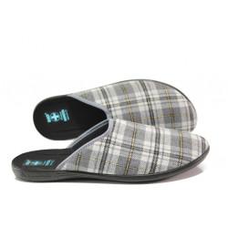 Анатомични домашни чехли с Bio ходила МА 24270 сив каре | Домашни чехли