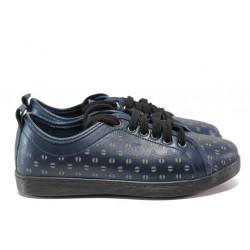 Дамски ортопедични обувки от естествена кожа МИ 201-15 син | Равни дамски обувки