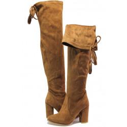 Дамски ботуши тип чизми МИ 65 таупе | Дамски ботуши на ток