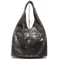 Българска дамска чанта от естествена кожа ЕМИ 100 бронз   Дамска чанта