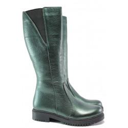 Дамски ботуши от естествена кожа МИ 800-80 зелен | Дамски ботуши с топъл хастар