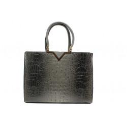 Елегантна дамска чанта с кроко мотив ФР 98781 сив | Дамска чанта