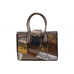 Модерна дамска чанта с кроко мотив ФР 2920 кафяв | Дамска чанта