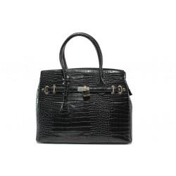 Елегантна дамска чанта с кроко мотив ФР 82 черен | Дамска чанта