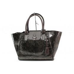 Модерна дамска чанта със змийски ефект ФР 630 кафяв | Дамска чанта