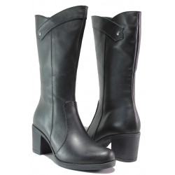 Дамски ботуши от естествена кожа МИ 555 черен | Дамски ботуши с топъл хастар
