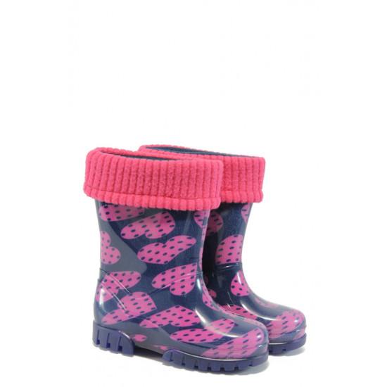 Детски гумени ботуши с топъл свалящ се чорап Demar 0038 сърца 20/27 | Гумени ботуши