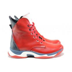 Български спортни боти от естествена кожа НЛ 316 червен | Дамски боти