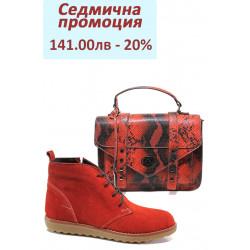 Дамски комплект ФР 7126 и МИ 100-0 червен | Комплекти обувки и чанти