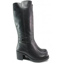Дамски ботуши от естествена кожа МИ 106-39 черен | Дамски ботуши с топъл хастар