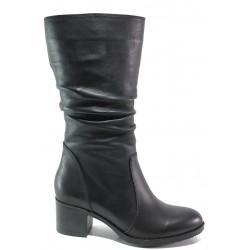 Дамски ботуши от естествена кожа МИ 703 черен | Дамски ботуши с топъл хастар