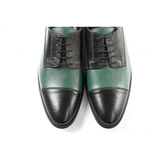 Елегантни мъжки обувки от естествена кожа МН Dylan 120171 черен-зелен | Мъжки официални обувки