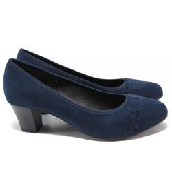 Дамски обувки на среден ток за Н крак Jana 8-22474-24H т.син   Немски обувки на ток