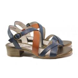 Анатомични дамски сандали от естествена кожа Jana 8-28256-24 син | Немски сандали на ток