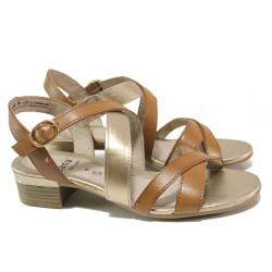 Анатомични дамски сандали от естествена кожа Jana 8-28256-24 коняк | Немски сандали на ток