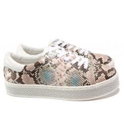 Дамски спортни обувки със змийски принт S.Oliver 5-23636-24 розов змия | Немски равни обувки
