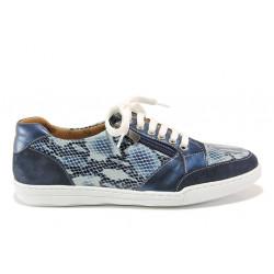 Дамски ортопедични спортни обувки от естествена кожа SOFTMODE 201 Carmen син змия | Дамски маратонки