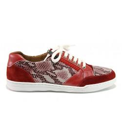 Дамски ортопедични спортни обувки от естествена кожа SOFTMODE 201 Carmen червен змия | Дамски маратонки