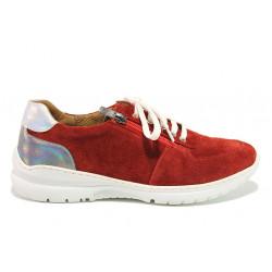 Дамски ортопедични спортни обувки от естествен велур SOFTMODE 1912 Harper червен | Дамски маратонки