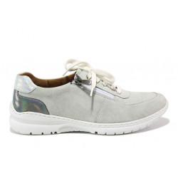 Дамски ортопедични спортни обувки от естествен велур SOFTMODE 1912 Harper бял-сив | Дамски маратонки