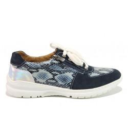 Дамски ортопедични спортни обувки от естествена кожа SOFTMODE 1912 Harper син змия | Дамски маратонки