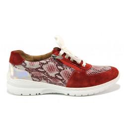 Дамски ортопедични спортни обувки от естествена кожа SOFTMODE 1912 Harper червен змия | Дамски маратонки