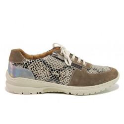 Дамски ортопедични спортни обувки от естествена кожа SOFTMODE 1912 Harper таупе змия | Дамски маратонки