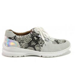 Дамски ортопедични спортни обувки от естествена кожа SOFTMODE 1912 Harper бял змия | Дамски маратонки