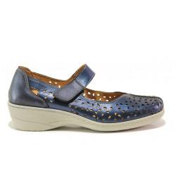 Дамски ортопедични обувки от естествена кожа SOFTMODE 1155 Jesse т.син | Дамски обувки на платформа