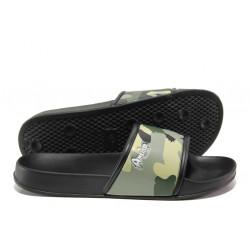 Детски джапанки с цяла лента АБ 10-19 зелен камуфлаж 31/35 | Детски чехли и сандали