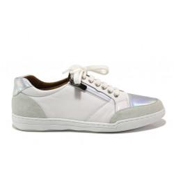 Дамски ортопедични спортни обувки от естествена кожа SOFTMODE 201 Carmen бял-сребро | Дамски маратонки