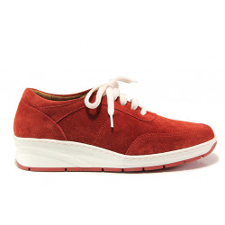 Дамски ортопедични обувки от естествен велур SOFTMODE 1174 червен | Дамски обувки на платформа