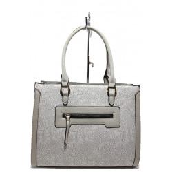 Стилна дамска чанта с цветни мотиви ФР 6161 сив | Дамска чанта