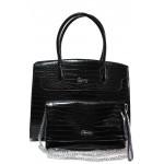 Дамска чанта с органайзер ФР 6141 черен кроко | Дамска чанта