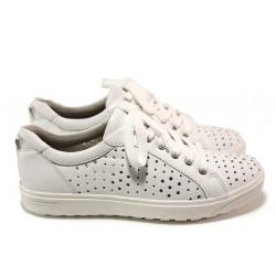 Ортопедични дамски спортни обувки от естествена кожа Jana 8-23615-24 бял | Немски равни обувки