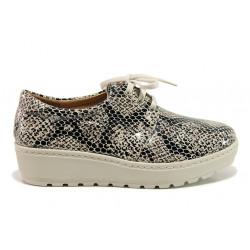 Дамски ортопедични обувки от естествена кожа SOFTMODE 2301 Connie сив-бежов | Дамски обувки на платформа