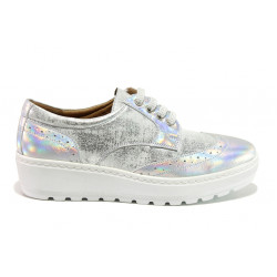 Дамски ортопедични обувки от естествена кожа SOFTMODE 2305 Cheryl сребро   Дамски обувки на платформа