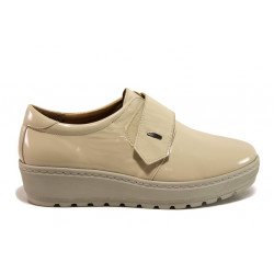 Дамски ортопедични обувки от естествена кожа SOFTMODE 2302 Charlena бежов лак | Дамски обувки на платформа