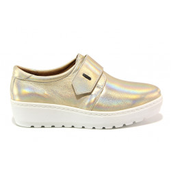 Дамски ортопедични обувки от естествена кожа SOFTMODE 2302 Charlena златен | Дамски обувки на платформа