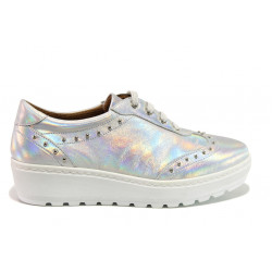 Дамски ортопедични обувки от естествена кожа SOFTMODE 2312 Megan сребро | Дамски обувки на платформа