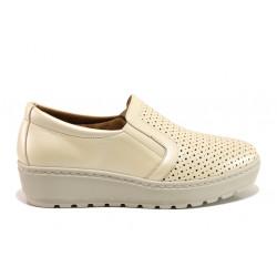 Дамски ортопедични обувки от естествена кожа SOFTMODE 2315Z Mia бежов | Дамски обувки на платформа
