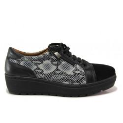 Дамски ортопедични обувки от естествена кожа SOFTMODE 2314 Marie черен | Дамски обувки на платформа