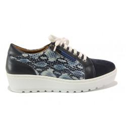 Дамски ортопедични обувки от естествена кожа SOFTMODE 2314 Marie син | Дамски обувки на платформа