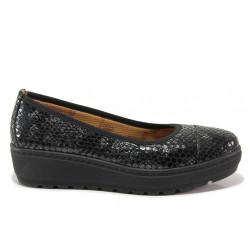 Дамски ортопедични обувки от естествена кожа SOFTMODE 2313 Michelle черен змия | Дамски обувки на платформа