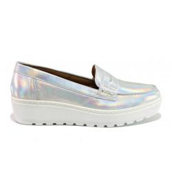 Дамски ортопедични мокасини от естествена кожа SOFTMODE 2316 Mira сребро | Дамски обувки на платформа