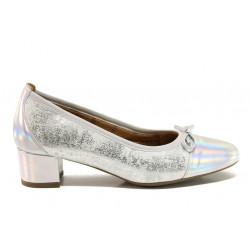 Дамски ортопедични обувки от естествена кожа SOFTMODE 5602 Gemma сребро | Дамски обувки на среден ток