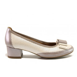 Дамски ортопедични обувки от естествена кожа SOFTMODE 695703 таупе-бежов | Дамски обувки на среден ток