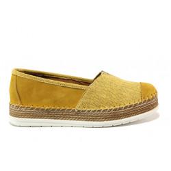 Дамски ортопедични еспадрили от естествен набук SOFTMODE Jasmin жълт-оранжев | Равни дамски обувки